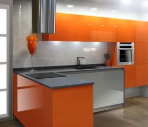 """Laca naranja y blanco con gola, puertas de columna con sistema """"push pull"""""""